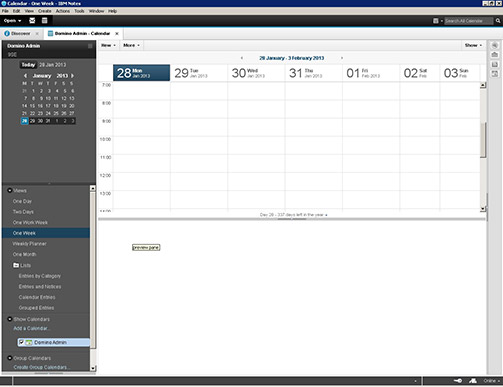 IBM Notes 9 Social Edition client application screen shot